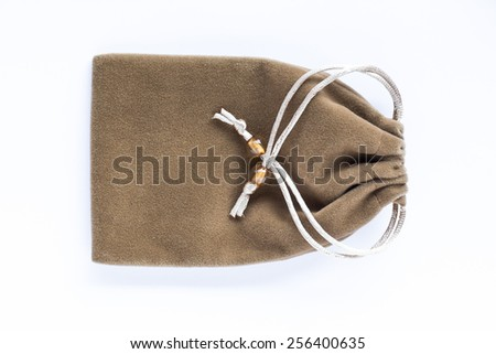 Velvet bag, pouch isolated on white background - stock photo