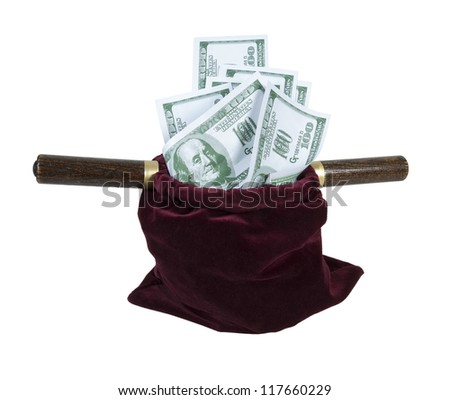 Velvet offering bag used in church for collecting tithing full of money - path included - stock photo