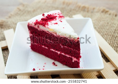 Velvet red cake - stock photo
