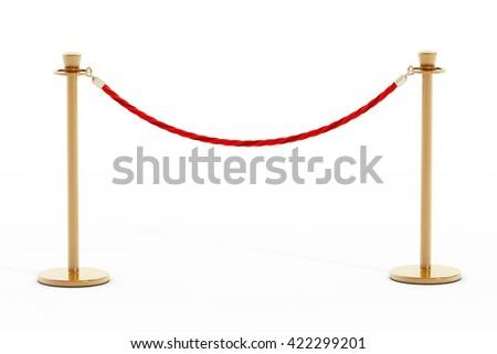 Velvet rope and golden barriers isolated on white background. 3D illustration. - stock photo