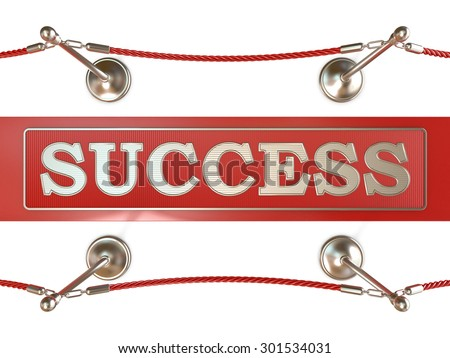 Velvet rope barrier and red carpet, with SUCCESS sign. 3D render isolated on white background - stock photo
