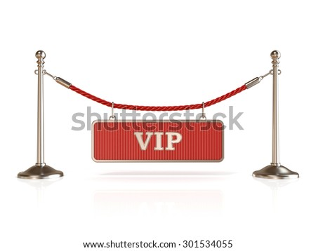Velvet rope barrier, with VIP sign. 3D render isolated on white background - stock photo