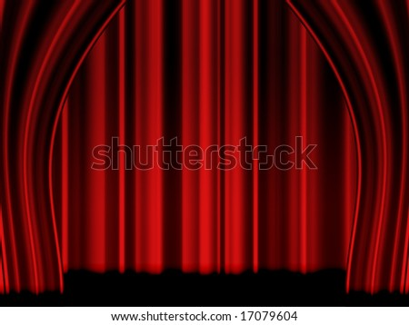 Velvet theatre curtain - stock photo