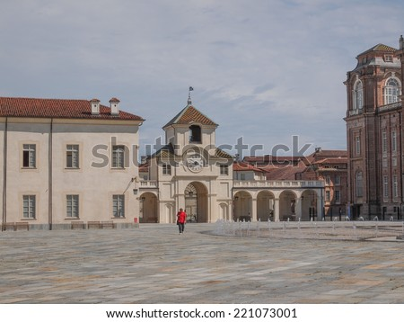 VENARIA, ITALY - JULY 30, 2014: Tourists visiting the Reggia baroque royal palace in Venaria Reale Turin Italy - stock photo