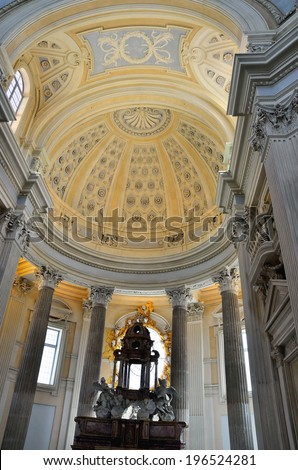 VENARIA, TURIN, ITALY- MAY 3: Church of st Hubert, the whole museum of Venaria was the seventh most visited in Italy, may 3, 2013, venaria, italy
