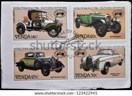 VENDA (SOUTH AFRICA) - CIRCA 1986: Stamps printed in South Africa shows Historic cars, circa 1986 - stock photo