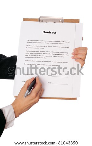 Vendor signing the contract as a continuation of relationship - stock photo