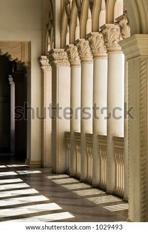 Venetian Balcony Columns and Arches in Las Vegas Nevada - stock photo