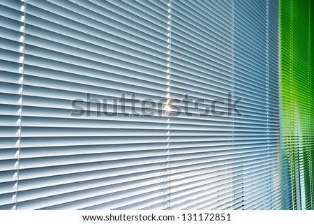 Venetian blind silver and green - stock photo