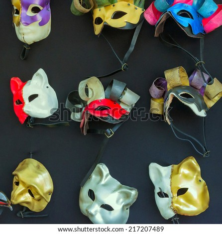 Venetian carnival colour masks - stock photo