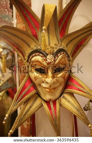 Venetian carnival mask. Important feature of the Venetian carnival. - stock photo
