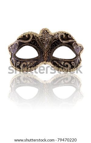 Venetian carnival mask, isolated on white background - stock photo