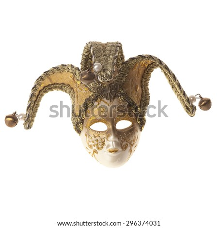Venetian carnival mask isolated with white background  - stock photo