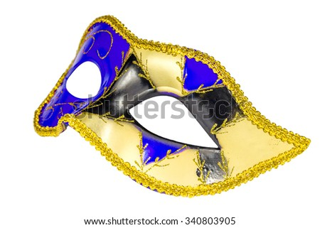 Venetian Carnival mask profile blue yellow black patterned asymmetric coloring image isolated white background