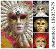 venetian carnival masks poster, Venice, Italy, Europe - stock photo