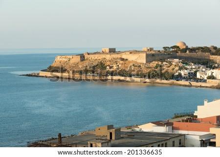 Venetian fortress and Rethymnon panorama, Crete - stock photo