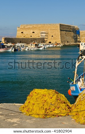Venetian fortress in old port in Iraklion, Crete, Greece - stock photo