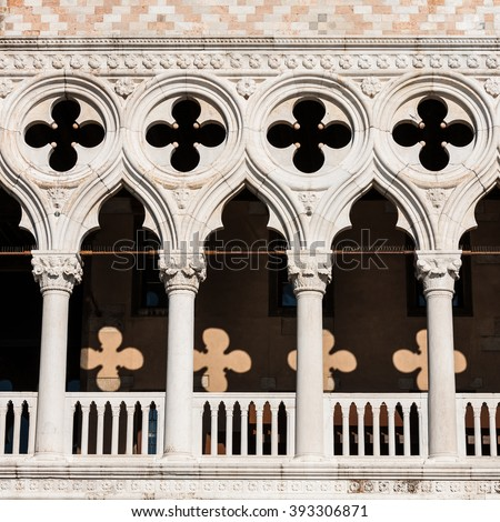 Venetian gothic example of balustrade The Doge Palace - Venice Italy / Detail of the Doge Palace (Palazzo Ducale) in St. Mark Square, Venice (UNESCO world heritage site), Veneto, Italy - stock photo