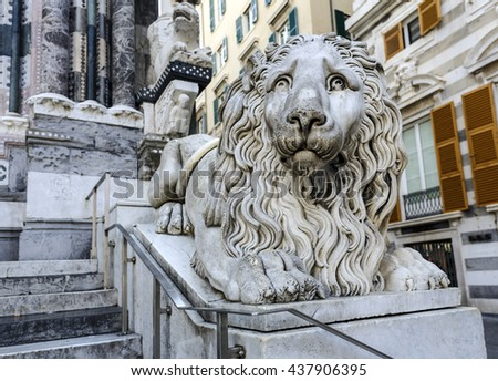 Venetian lion statue beside the Cathedral San Lorenzo in Genoa Italy - stock photo