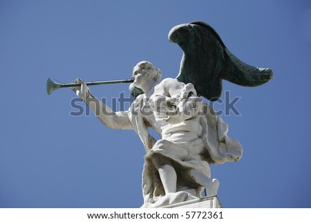 Venetian marble angel with bronze wings and trombone.
