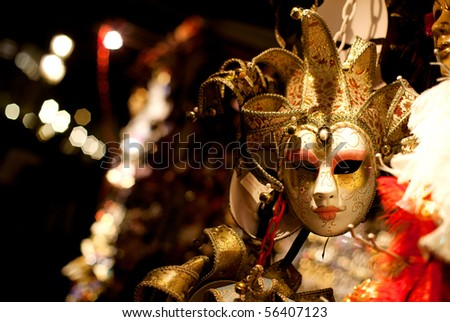Venetian mask at night - stock photo