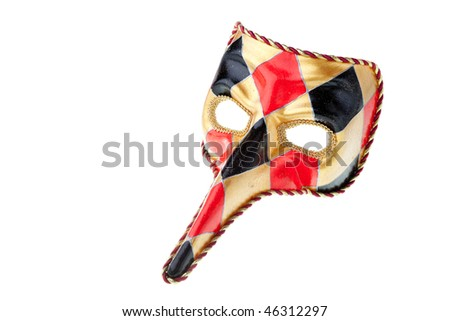 venetian  mask isolated on a white background - stock photo