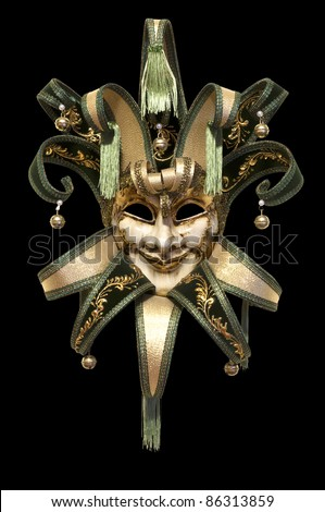Venetian mask on a black background - stock photo
