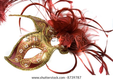 Venetian mask red with gold, isolated on white - stock photo