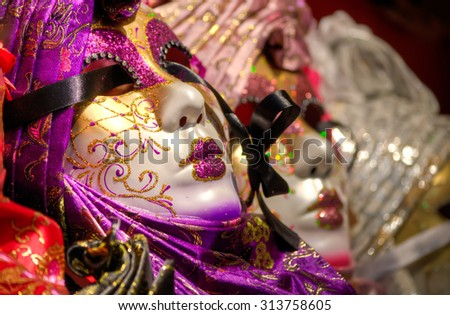 Venetian masks waiting to wearn for the canavle - stock photo