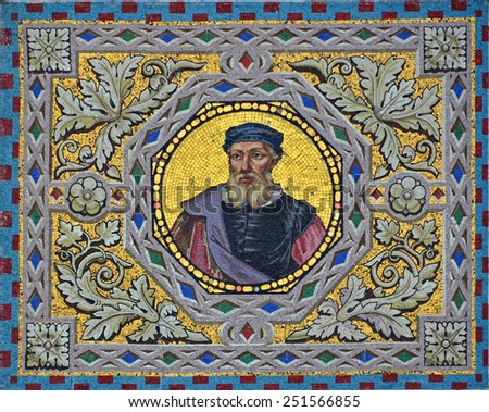 Venetian mosaic portrait of a man on a gold background with elegant acanthus leaf and lozange  frame - stock photo