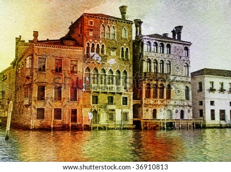 Venetian pictures - artwork in painting style - stock photo