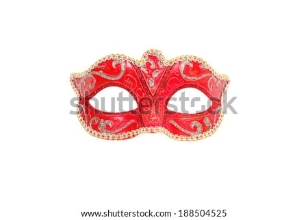 Venetian red carnival mask closeup - stock photo