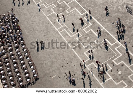 Venetian San Mark's Square seen from bell tower, Venice, Italy - stock photo