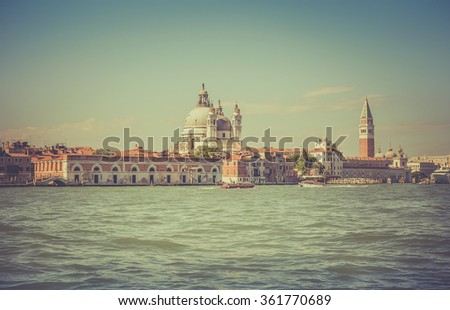 Venetian scenery. A view from a water bus.