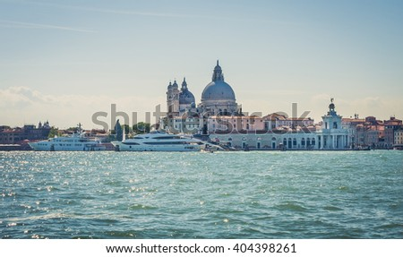 Venetian scenery. A view from a water bus. - stock photo
