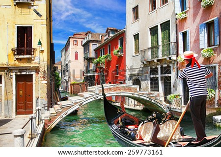 Venetian vacations. colorful sunny canals of beautiful city - stock photo