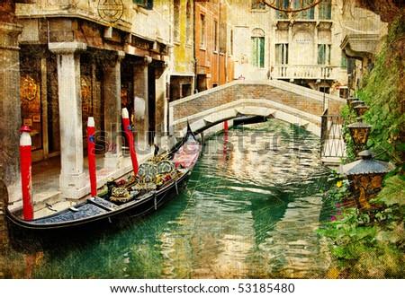 Venetian vintage cards series - stock photo