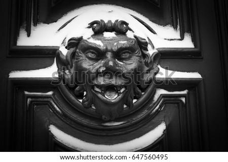 VENEZIA/ITALY - DECEMBER 2009: Detail of a door decoration after a winter storm & Storm Door Stock Images Royalty-Free Images \u0026 Vectors | Shutterstock Pezcame.Com
