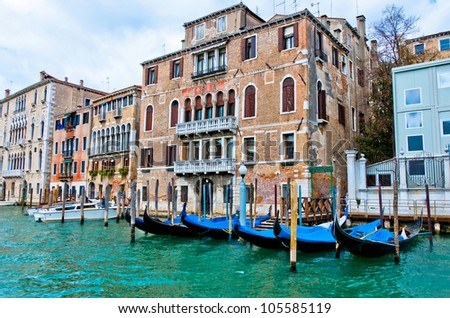 Venezia, Italy - Gondolas and typical buildings on Grand Canal