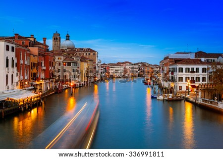 Venezia, view of the Grand Canal at sunset from the Ponte degli Scalzi. Venice, Veneto, Italy.