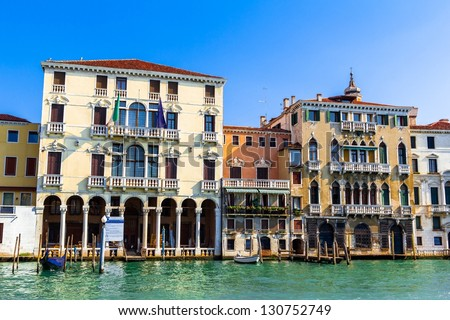 Venezian buildings beside the grand canal in Venice (Italy). - stock photo