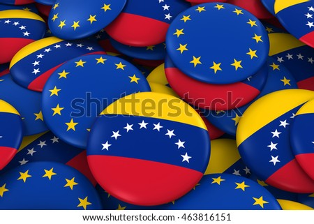Venezuela and Europe Badges Background - Pile of Venezuelan and European Flag Buttons 3D Illustration