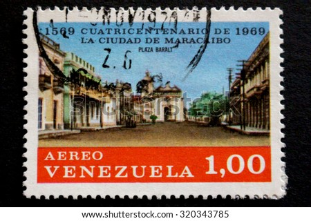 VENEZUELA - CIRCA 1969 : A postage stamp printed in Venezuela showing an image of the city of Maracaibo , circa 1969