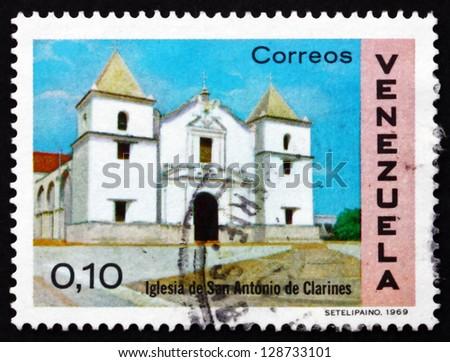 VENEZUELA - CIRCA 1970: a stamp printed in the Venezuela shows Church of St. Anthony, Clarines, circa 1970 - stock photo