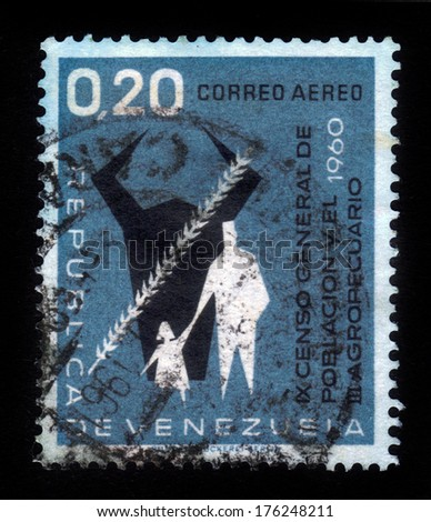 VENEZUELA - CIRCA 1961: a stamp printed in the Venezuela shows Cow's Head, Grain, Man and Child, 9th General Census and 3rd Agricultural Census, blue, series, circa 1961 - stock photo