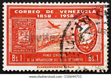VENEZUELA - CIRCA 1959: a stamp printed in the Venezuela shows Plane, Train and Don Miguel Herrera, Centenary of Venezuelan Postage Stamps, circa 1959 - stock photo