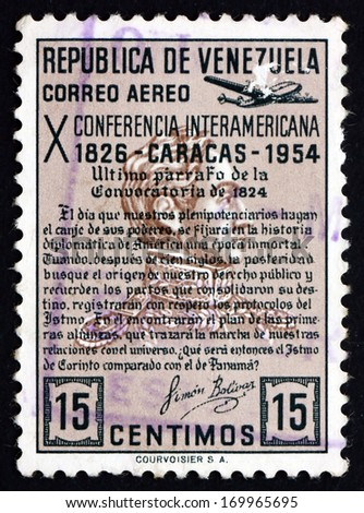 VENEZUELA - CIRCA 1954: a stamp printed in the Venezuela shows Quotation from Bolivar's Manifesto of 1824, 10th Inter-American Conference, Caracas, circa 1954 - stock photo