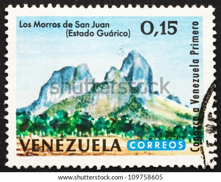 VENEZUELA - CIRCA 1964: a stamp printed in the Venezuela shows San Juan Peaks, Guarico, circa 1964 - stock photo