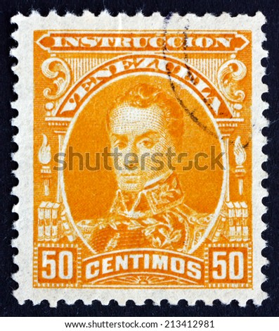 VENEZUELA - CIRCA 1904: a stamp printed in the Venezuela shows Simon Bolivar, Liberator, Revolutionary, Portrait, 2nd President of Venezuela, 1813 - 1814, circa 1904 - stock photo