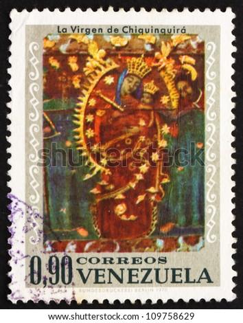 VENEZUELA - CIRCA 1970: a stamp printed in the Venezuela shows Virgin of Chiquinquira, Design from Venezuelan Church, circa 1970 - stock photo